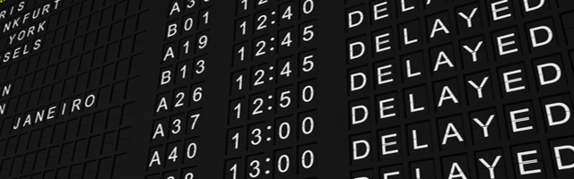 Detailed rendering of a flight information board showing all flights delayed.